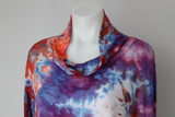 Ladies XL tunic turtleneck long sleeve ice dye  - Fruit Punch crinkle