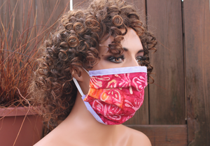 Fabric face mask with Elastic - Fuchsia Butterflies lavender