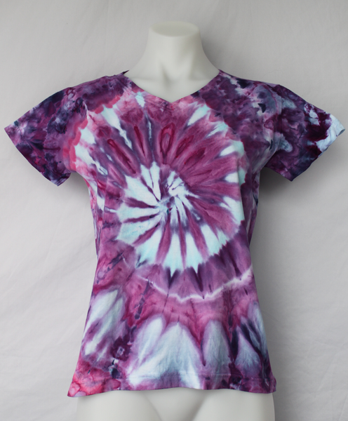 Ladies Small V neck t shirt - Grape Splash twist