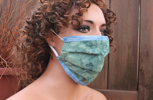 Fabric face mask with Elastic - Green blue