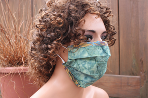 Fabric face mask with Elastic - Green tan swishes
