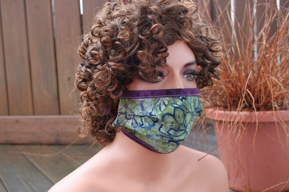 Fabric face mask - Green Tapestry purple