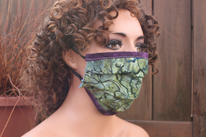 Fabric face mask Elastic - Green Tapestry purple