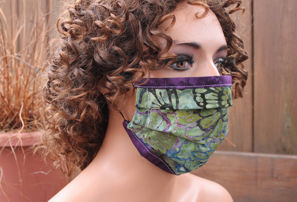 Fabric face mask with Elastic - Green Tapestry purple