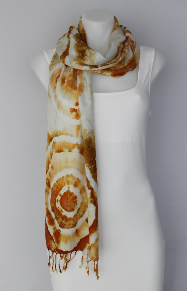 Rayon Scarf ice dyed - Ground Mustard bulls eye
