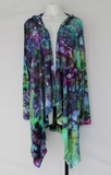 Tie dye Hooded Cardigan - size XL - Ice dye - Handful of Gems crinkle