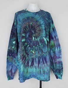 Men's long sleeve shirt size XL Unisex ice dye - Handful of Gems twist -1