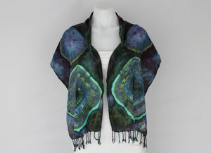 Rayon Scarf ice dyed - Handful of Gems bulls eye