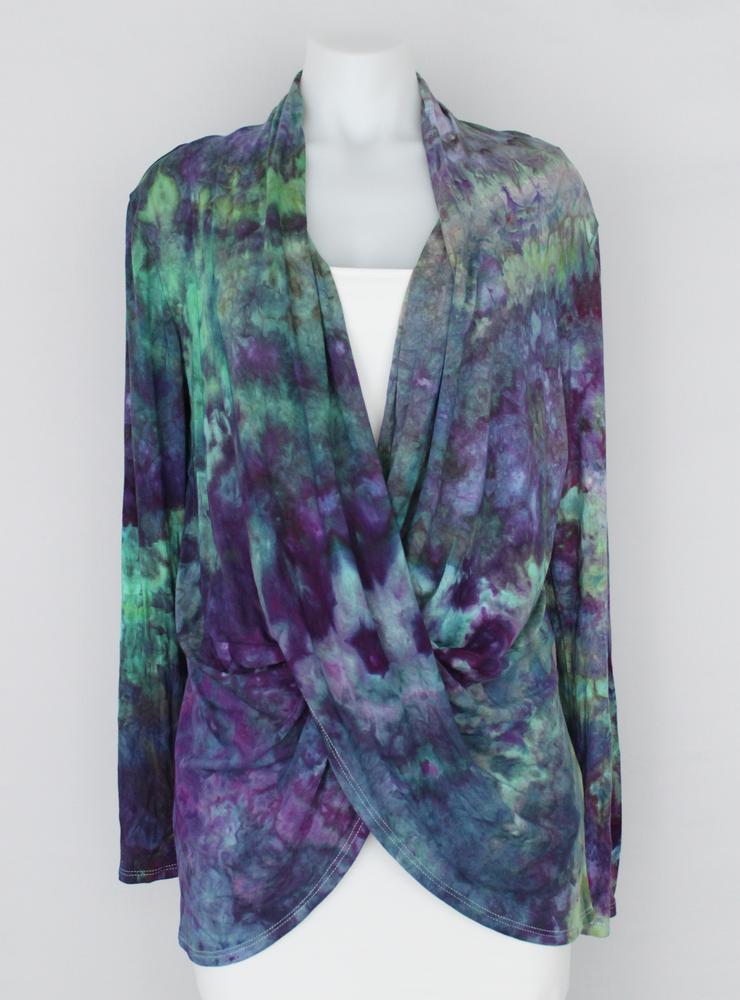 Criss cross front Cardigan Tunic size Large Ice dye - Helen's Iris Patch crinkle