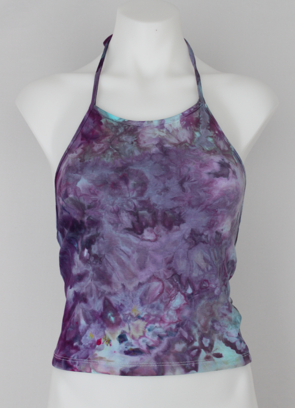 Halter top - size Small ice dye - Helen's Iris Patch crinkle