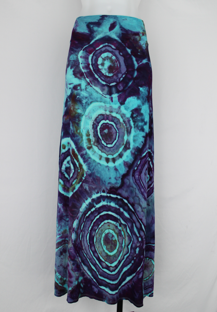 Maxi skirt size XL ice dye - Helen's Iris Patch bullseye