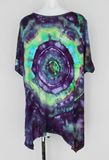 Handkerchief hem tunic - size 2XL - ice dye - Helen's Iris Patch mega eye