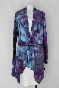 Jersey Waterfall jacket with ties size Sm/Md - Helen's Iris Patch crinkle