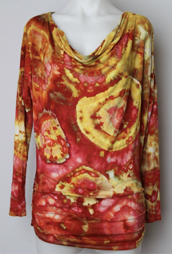 Cowl neck tunic - size Small - Fire on the Mountain bullseye