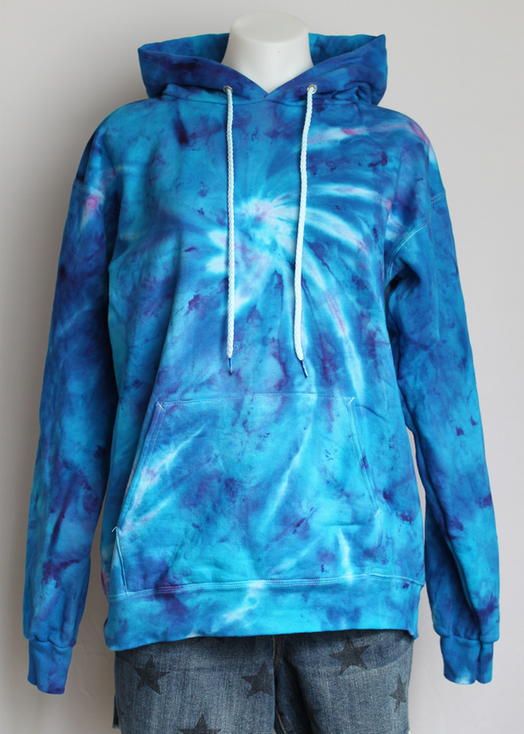 Hoodie sweatshirt Unisex pull over - size Small - Jessamine Blue twist
