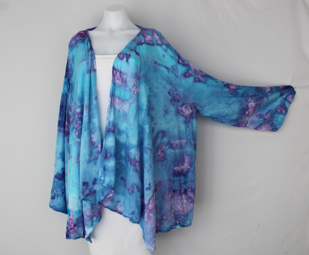 Waterfall Jacket rayon Plus size - size XXL - Jessamine Blue crinkle