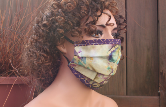 Fabric face mask with Elastic - Khaki batik purple fence