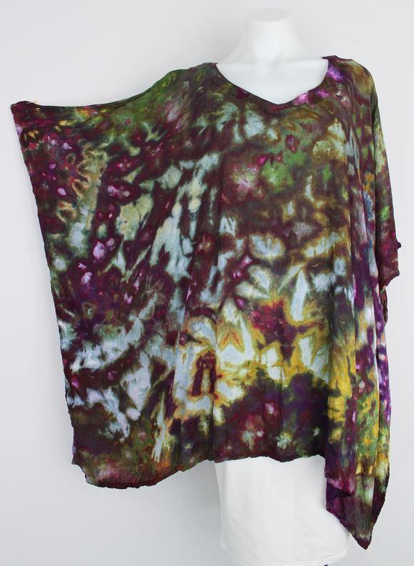 Rayon Poncho One size fits most - ice dye - Kimmy's Purple crinkle