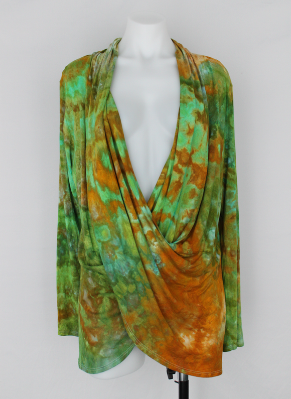 Criss cross front Cardigan Tunic size XL Ice dye - Kortney's Meadow crinkle