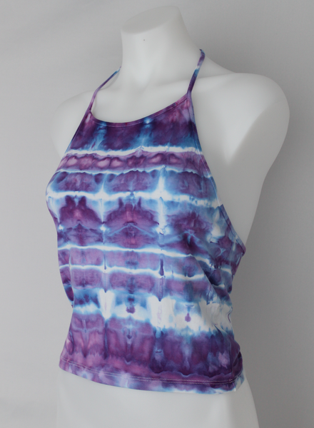 Halter top size Medium ice dye - Lavender Garden stained glass