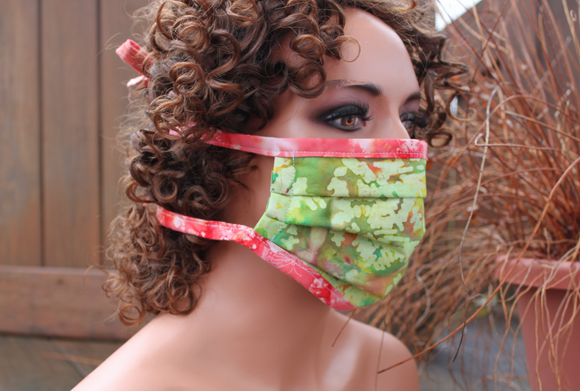 Fabric face mask - Lime peach