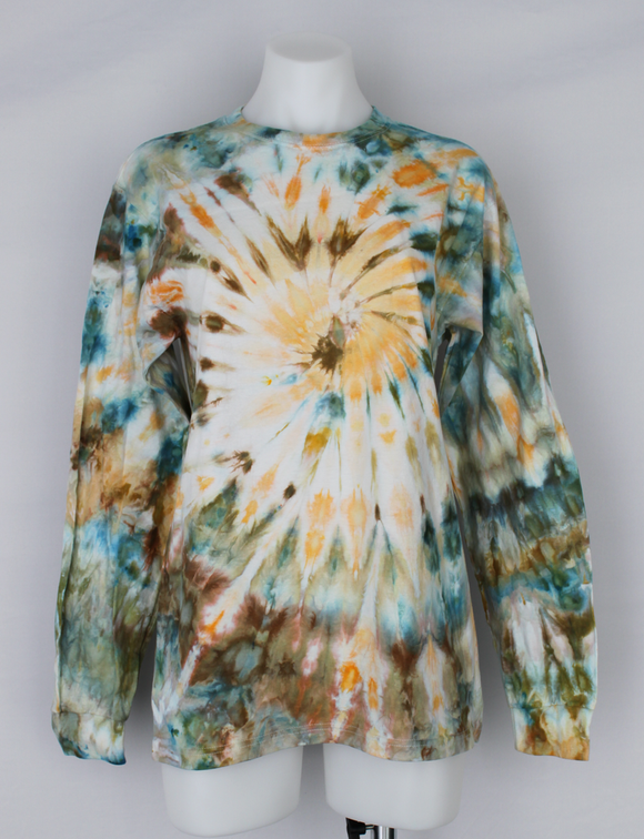 Men's long sleeve T shirt size Medium UNISEX ice dye - Marissa's Mist twist