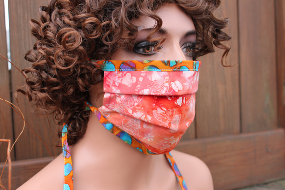 Fabric face mask - Peachy butterflies 1