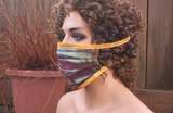Fabric face mask - Na's Favorite snakeskin gold