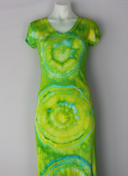 Ice dye Maxi dress - size Small - Neon Glow centered eye