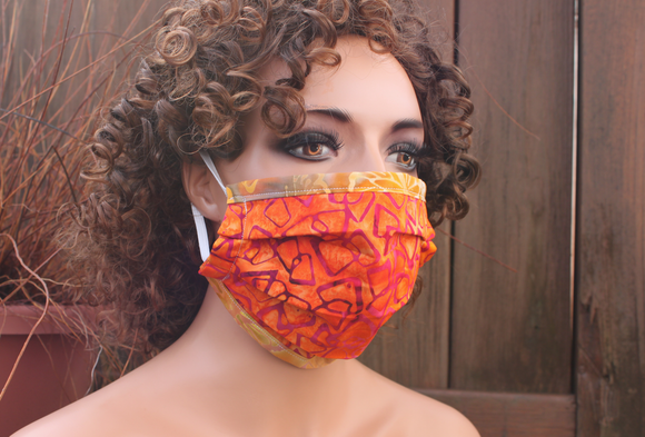 Fabric face mask with Elastic - Orange shapes gold