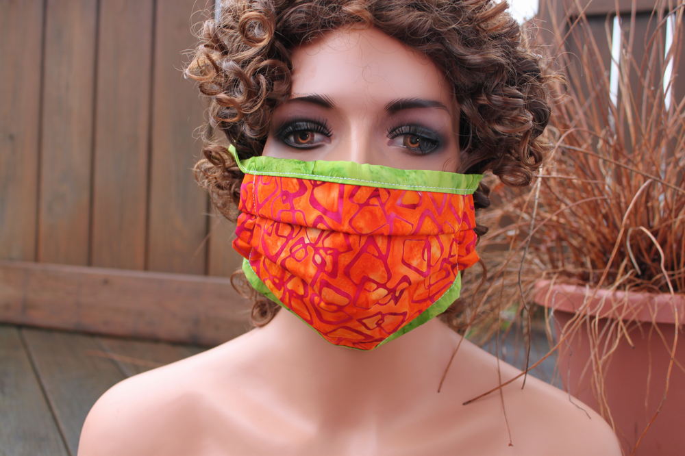 Fabric face mask - Orange shapes with lime