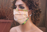 Fabric face mask with Elastic - Peach leaves abstract