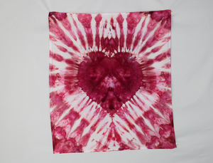 Cotton Flour sack towel - ice dye - Oink Pink heart