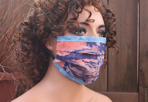 Fabric face mask with Elastic - Pink Tie dye blue