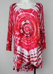 Hi Lo tunic - size X Large - ice dye - Pomegranate mega eye