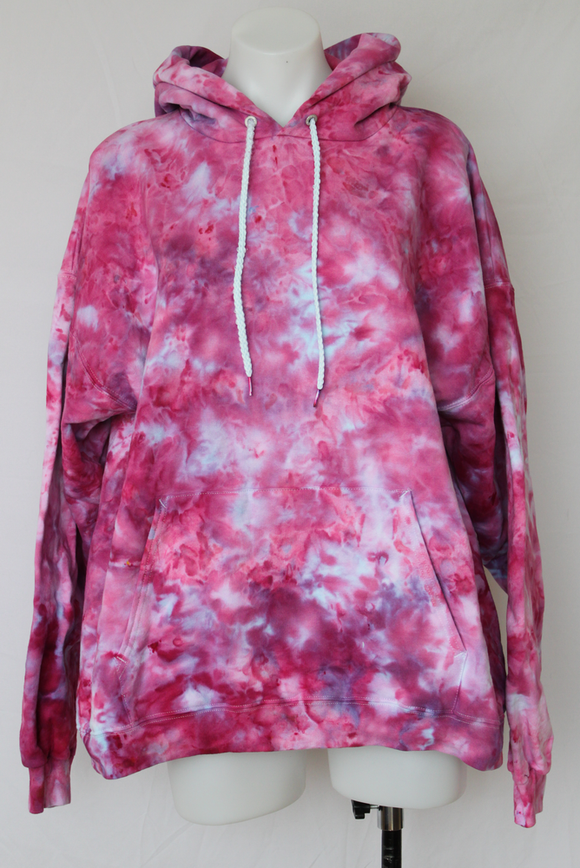 Hoodie sweatshirt Unisex ice dye - size Large - Pretty in Pink crinkle