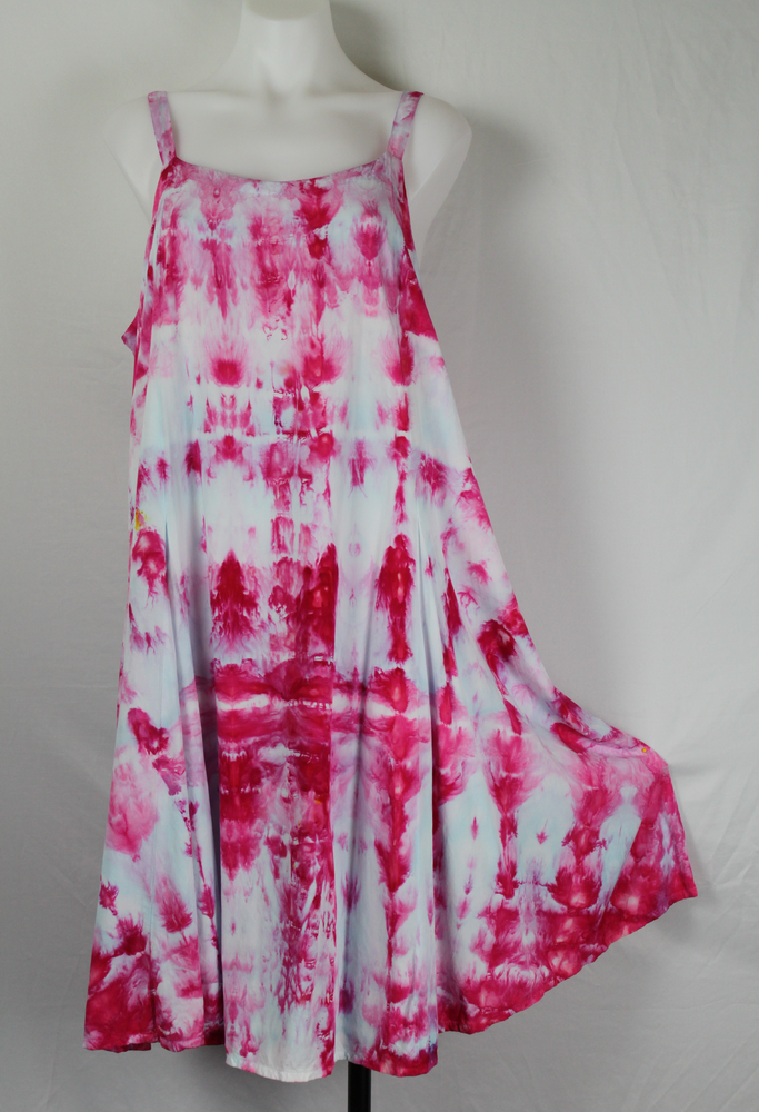 Tie dye sundress size X Large ice dye - Pretty in Pink (6)