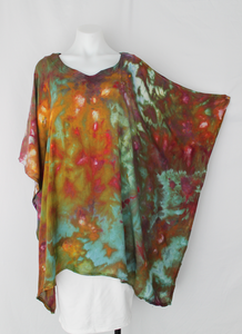 Rayon Poncho One size fits most - ice dye - Rainbow Connection crinkle (2)