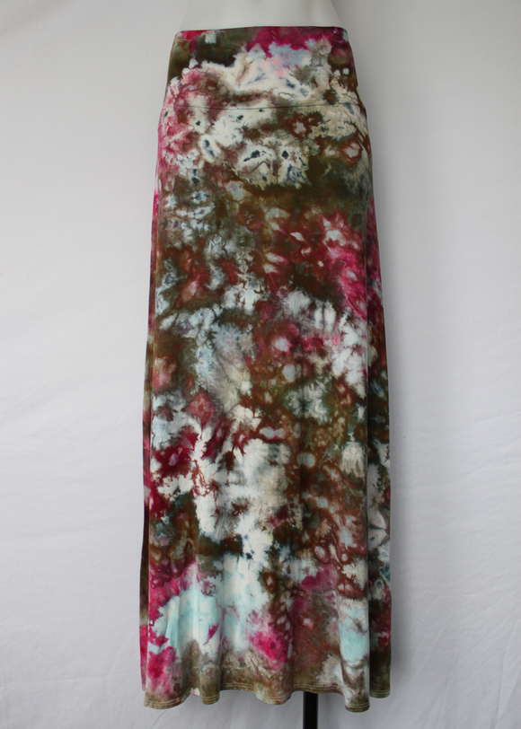 Large Tie dye Maxi skirt ice dye - Raspberry Brownie crinkle