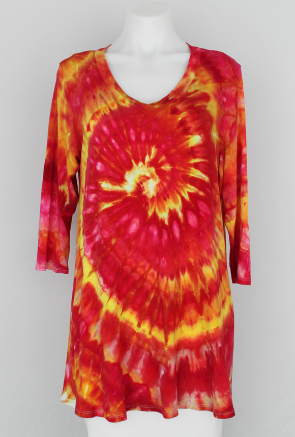 Tunic 3 quarter sleeve V neck - size XL - ice dye - Raspberry Lemonade twist
