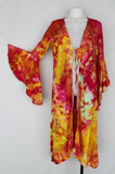 Long Trumpet sleeve Kimono size Small - Raspberry Lemonade crinkle