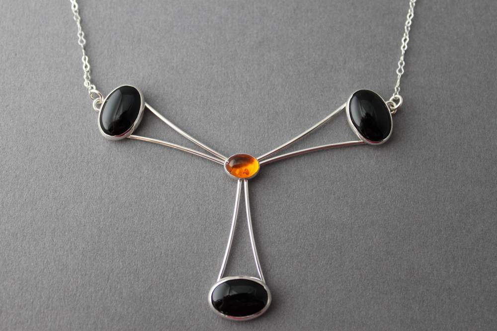 Sterling Amber Black Onyx necklace - handcrafted - Orbit Eye