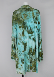 Open front Cardigan size 2XL Ice dye - Sea Glass crinkle