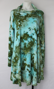 Ladies Large tunic cowl neck turtleneck ice dye - Sea Glass crinkle