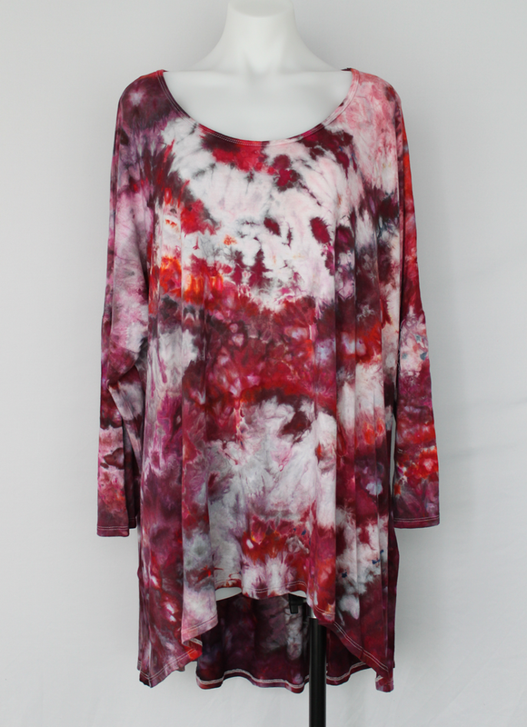 Women's Plus size 3X hi lo tunic ice dye - Spring Blooms