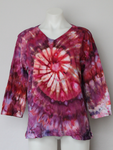Large 3/4 sleeve v neck shirt Ladies - ice dye - Sunset Blush twist