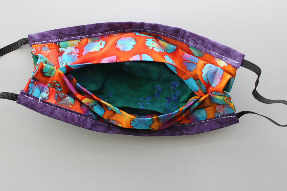 Fabric face mask with Elastic - Teal purple