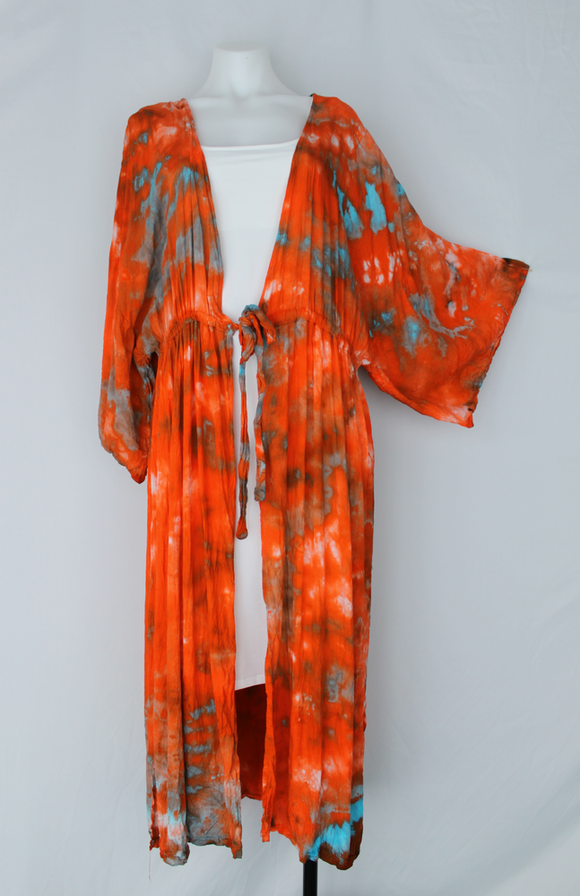Long tie front Kimono Duster - size XL - Ta-queela Sunrise