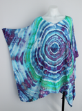 Rayon Poncho One size fits most - ice dye - Tranquil Waters mega eye