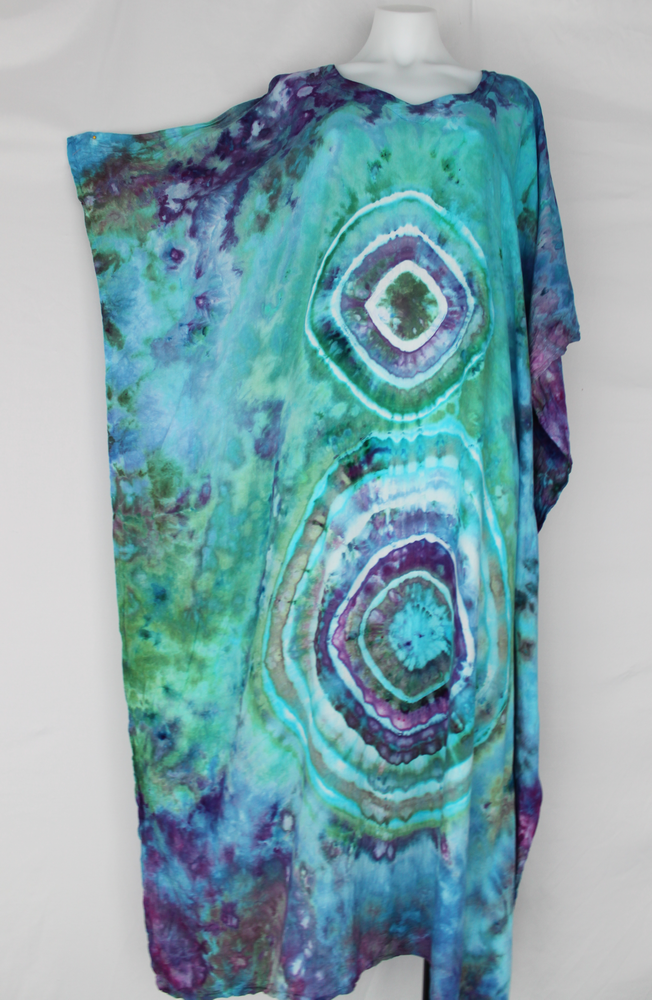 Rayon Caftan One size fits most ice dye - Tranquil Waters double eye